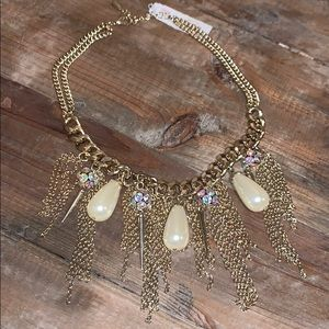 Guess Gold Tone Chain Embellished Necklace